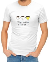 Espresso Yourself Mens T-Shirt - White Medium