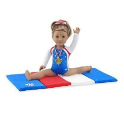 Emily Rose 18 Inch Doll Clothes Team Usa 4 Piece Doll Gymnastics Set Including Jeweled Leotard Tumbling Mat Hair Bow And Realist