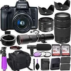 Canon Eos M50 Mirrorless Camera + 15-45MM Is Stm Lens + 55-200MM Is Stm Lens Black +
