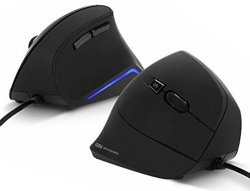 Vertical Ergonomics High Sensitivity USB Wired Mouse Minimize Wrist Pain Matte Color