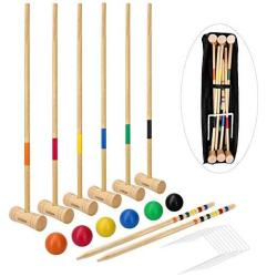 Lululion Croquet Set For Kids And Adults - Includes Extra Large Carrying Bag - 6 Players Durable Hardwood Material Deluxe Croque