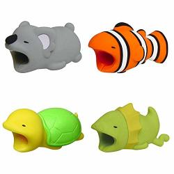 Cable Bites Animals 4 Pack Turtle lizard mouse clownfish Cable Charger Charging Data Line Cord Protector Buddies Compatible For Iphone USB Cable Bite Animal Saver Chewers Cell