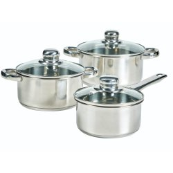 Mainstays - 6 Piece Stainless Steel Pots And Saucepan Set