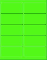 """8-1 2 X 11"""" Neon Color High Light Fluorescent Labels For Laser & Inkjet Printer Green Fluorescent 4 X 2"""" - 10 Per Page 250 Labels"""