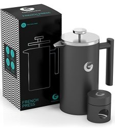 Coffee Gator French Press Coffee Maker 34 Oz Best Premium Quality Stainless Steel Cafetiere - Keeps Coffee Hotter Longer With Vacuum Insulated Sides