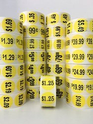 "1000 Labels 1.5"" Round Yellow $24.99 Pricing Price Point Retail Stickers 1 Roll"