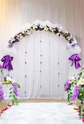 Leyiyi 10X6.5FT Church Wedding Ceremony Stage Backdrop Romantic Marriage Arch Door Curtain Floral Garland Background Engagement