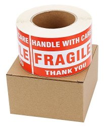 "SJPACK 6 Rolls 3"" X 5"" Fragile - Handle With Care - Thank You Shipping Labels Stickers 500 Labels Roll"