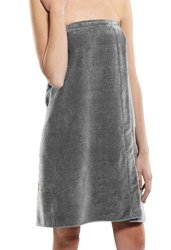 SPA Wrap Terry Cotton Ladies Cover Up Made In Usa Silver One Size
