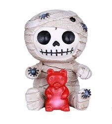 Ebros Egyptian Furrybones Mummy Sarcophagus With Red Teddy Bear And Creepy Spiders Figurine Small 2.75 Inch Tall Furry Bones Skeleton Decor Statue Gods And