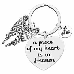 Memorial Jewelry Brother Memorial Keychain A Piece Of My Heart Is In Heaven Key Chain Brother Memorial Gift Remembrance Sympathy Gift