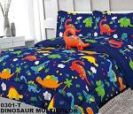 Sapphire Home 6 Piece Twin Kids Boys Comforter Set Bed In Bag W shams Sheet Set And Decorative Toy Pillow Dinosaurs Print Blue G