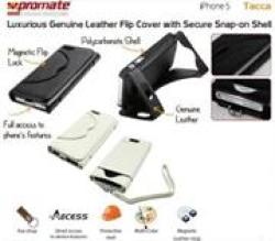 Promate Tacca-Luxurious Leather Flip Cover with Secure Snap-on Shell for iPhone 5 5S in White
