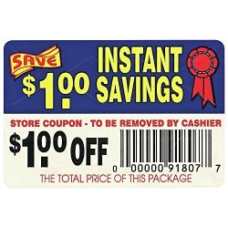 """Coupon Labels $1.00 Off Instant Savings - 3"""" L X 2"""" H 250 Per Roll"""