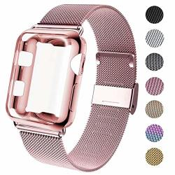 GBPOOT Compatible For Apple Watch Band 38MM 40MM 42MM 44MM With Screen Protector Case Sports Wristband Strap Replacement Band With Protective Case For Iwatch