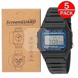 5-PACK For Casio F105W-1A Watch Screen Protector Full Coverage Screen Protector For F-105W Watch HD Clear Anti-bubble And Anti-scratch