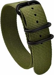 Nato Skull 22MM Zulu Nylon Strap With Pvd Buckles In Military Green