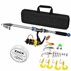 Zacx Telescopic Fishing Rod And Reel Combos Full Kits Spinning Fishing Gear Pole Sets With Line Lures Hooks And Premium Portable