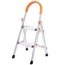 "Ayamastro 35.4"" Foldable 2 Step Aluminum Handrail Ladder Non-slip 330 Lbs"