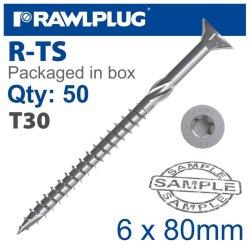 RawlPlug Torx T30 Chipboard Screw 6.0X80MM X50-BOX