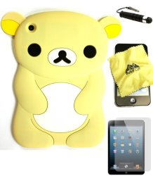 Bukit Cell Cream Bear 3D Cartoon Soft Silicone Skin Case Cover For Apple Ipad MINI 16GB 32GB 64GB Wifi And 4G LTE Versions
