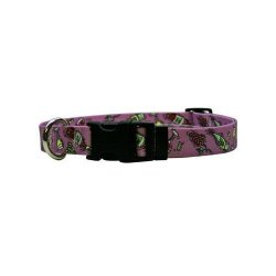 """Yellow Dog Design Wine Crazy Dog Collar With Tag-a-long Id Tag SYSTEM-MEDIUM-3 4"""" And Fits Neck 14 To 20"""" 4"""