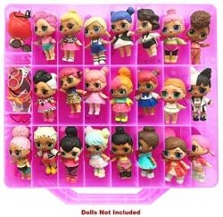 HOME4 Double Sided Storage Container - Bpa Free - Organizer Case - 48 Compartments - Perfect For Small Dolls And Toys - Dolls Not Included Pink