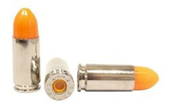 ST Action Pro Pack Of 5 Inert 9MM 9X19MM Parabellum Nato Luger Pistol Orange Safety Trainer Cartridge Dummy Ammunition Ammo Shell Rounds With Nickel Case