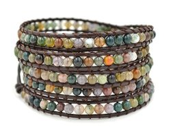 LAIWU JEWELRY Multi-layer Braided Leather Wrap Bracelet With Multi-color 4MM Rounded Agate Beads 5 Wrap