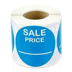 "Price 2"" Round Pricing Retail Store Stickers tags Labels Stickers Light Blue 300 Labels Per Roll 10 Rolls"