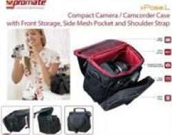 Product Overview Promate Xpose.l Compact Camera camcorder Case With Front Storage Side Mesh Pocket And Shoulder Strap. Functiona