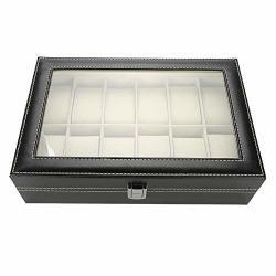 Watch Storage Case 12 Grids Pu Leather Watch Display Case Storage Box Organizer Watch Jewelry Display Box