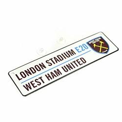 West Ham United Fc New Crest 3D Embossed Metal Hanging Street Sign One Size White black