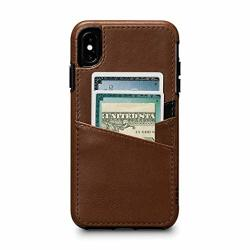 Sena CE Deen Lugano Leather Snap On Wallet Cell Phone Case For Iphone XS Max - Wireless Charging Compatible - Saddle