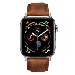 Colton James Leather Strap For Silver 40MM Apple Watch - Brown