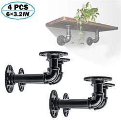 METAL 4PCS Decor Industrial Shelf Brackets Iron Black Iron Pipe Fittings Custom Diy Floating Shelves Shelf Hanging Wall Mounted Vintage Furniture Decorations 5.9IN X