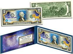 Capricorn Horoscope Zodiac Genuine Legal Tender Colorized U.s. $2 Bill