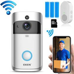 Eken V5 720P Wireless Wifi Smart Video Doorbell Support Motion Detection & Infrared Night Vision & Two-way Voice Package 3: Doorbell + Chime + 3 X 18650 Batteries + 32GB Tf Card Silver