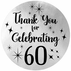 Black And Silver 60TH Birthday Thank You Stickers - 1.75 In - 40 Labels