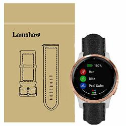 For Garmin Vivoactive 4S Bands Blueshaw Leather Strap Replacement Band V Voactive 4S 40MM Smartwatch Black