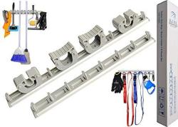 $5 Off New Launch Mop And Broom Holder Wall Mount With 2 Aluminum Racks + 4 Grips + 12 Utility Hooks For Laundry Room