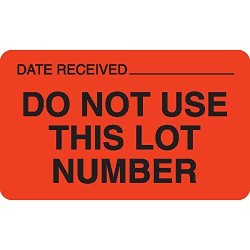 """Lot Signal Labels In Blister Packs""""do Not Use This Lot Number"""" Fluorescent Orange With Black Text And Area For Date Rec'd 2.5""""W X 1.5""""H"""