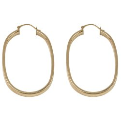 BONDED GOLD - 4X2 Flat Tube Oval Hoop Earring