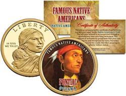 Pontiac Famous Native Americans 2013 Sacagawea Dollar Us $1 Coin Ottawa Indian