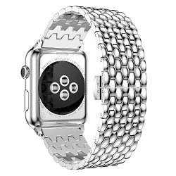 Urbst Apple Watch Band Stainless Steel Metal Watch Strap Replacement Bracelet For Apple Iwatch Series 1 Series 2 SILVER-38MM
