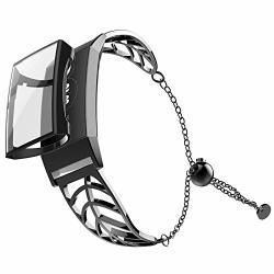 UMTELE Band Compatible With Fitbit Charge 3 Leaf Shape Stainless Steel  Bracelet Women Replacement Band With Full Cover Screen Pr   R845 00  