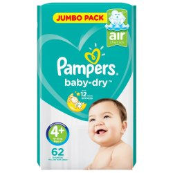 Pampers Active Baby Nappies Jumbo Maxi Plus 62'S
