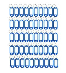 50PCS Plastic Coded Key Id Label Tags Split Ring Keyring Keychain With Label Window Great To Identify Your Key Blue