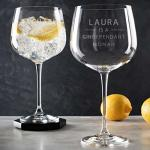 Engraved Gin Glasses Personalized For Her - Funny Gin Gifts For Women - Gin Lovers Gifts For Mom - Gin Drinker Gifts - Alcohol