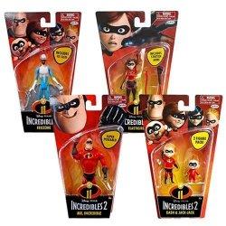 Jakks Incredibles 2 Disney Pixar Movie Complete Set Of 4 Elastigirl Mr. Incredible Frozone Dash Jack-jack